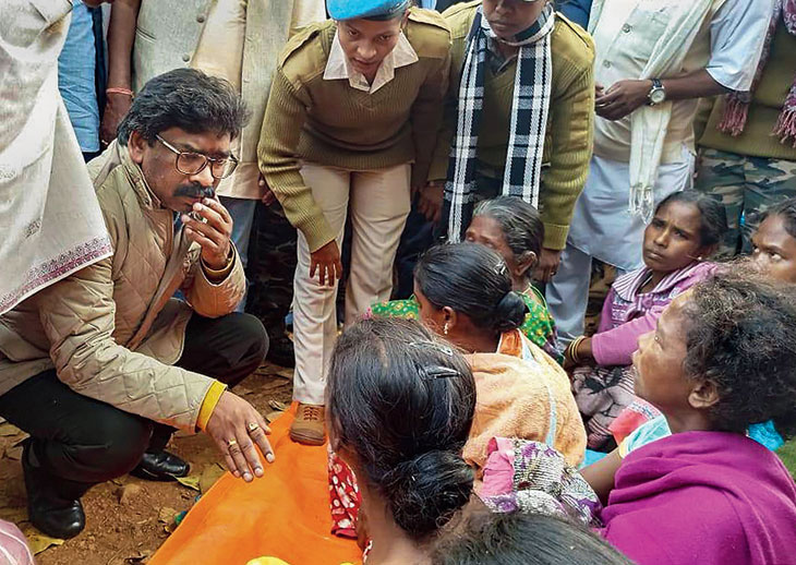 At Burugulikera village in West Singhbhum on Thursday, chief minister Hemant Soren speaks to the family members of those killed allegedly by pathalgadi supporters.