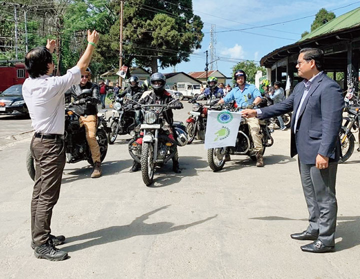 Meghalaya chief minister Conrad K. Sangma flags off the motorcycle rally in Shillong on Tuesday