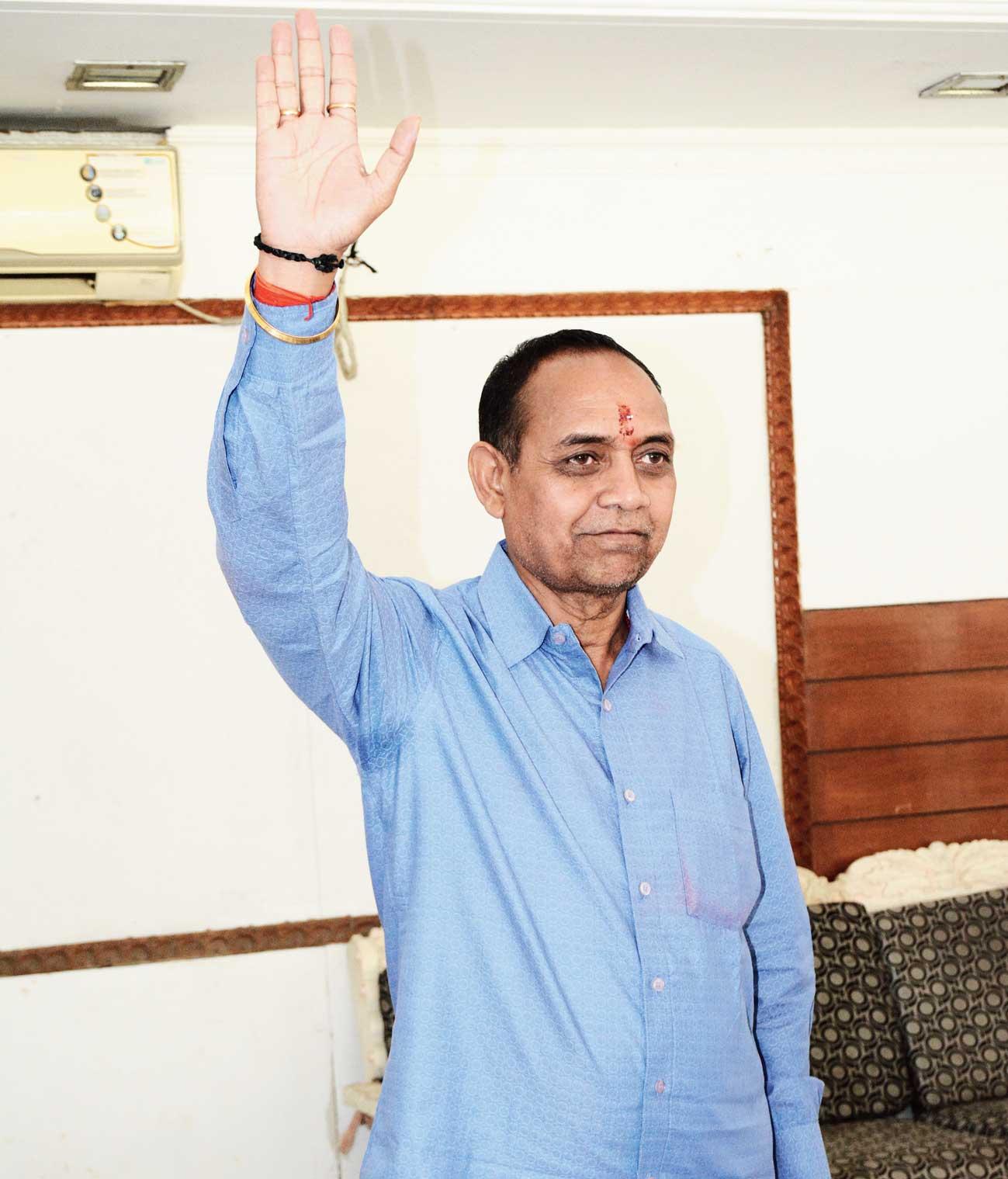 BJP's Bidyut Baran Mahto at a party meeting in Sakchi, Jamshedpur, earlier this week.