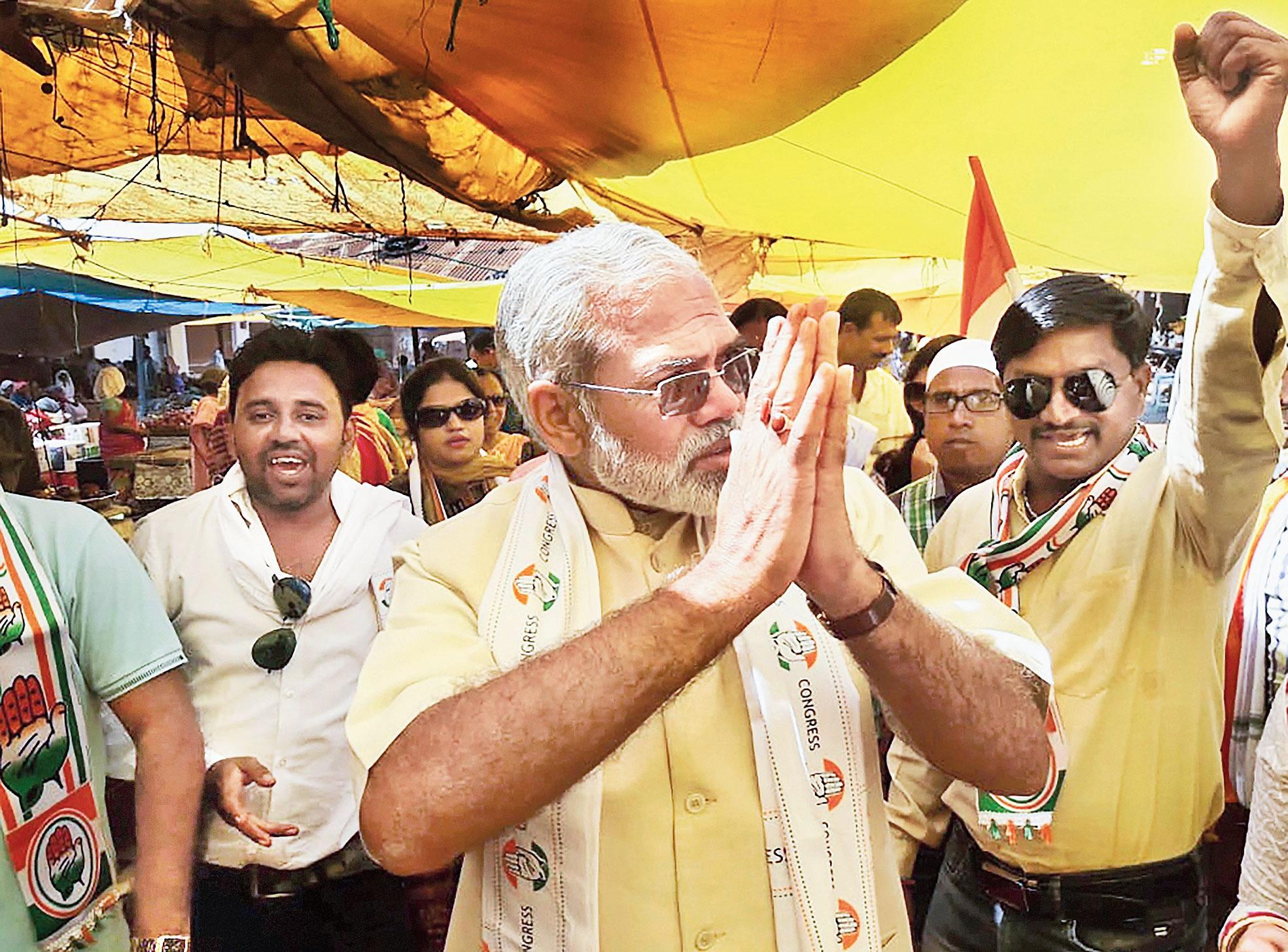 Modi lookalike Abhinandan Pathak campaigns for the Congress in Dantewada district.