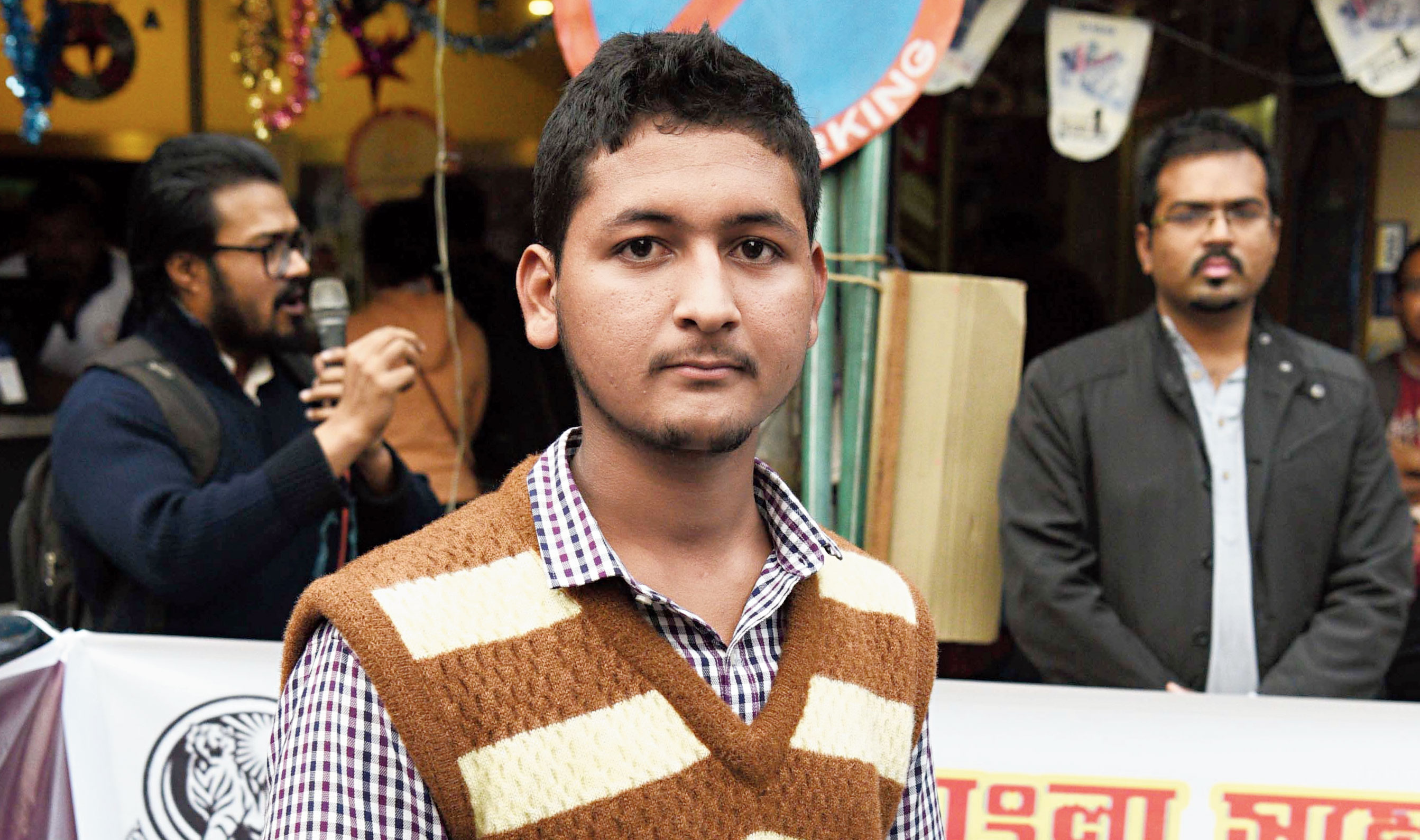 Mustafiur Rahaman outside Jadavpur University on Thursday.