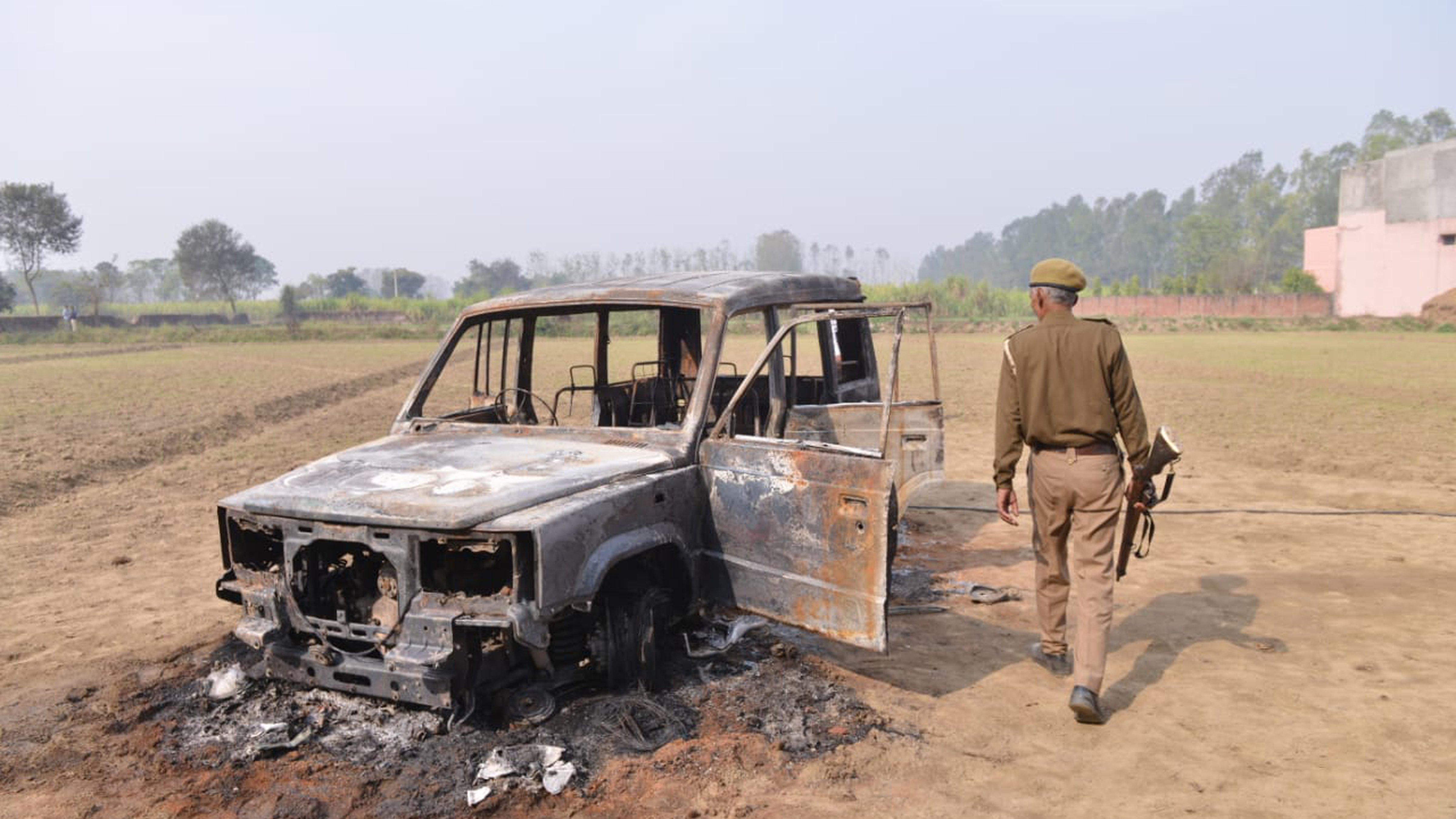 A vehicle that was torched by a mob in Siyana, Bulandshahr, on December 4, 2018.