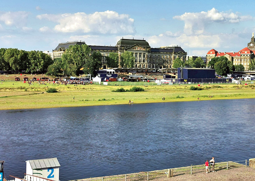 The Elbe river in Dresden, Germany. Walking around Dresden, you can still see many traces of the last of the great conflicts between Germany and its neighbours. The city is seen as a centre for the rising far Right with one in five citizens voting for the Alternative für Deutschland party