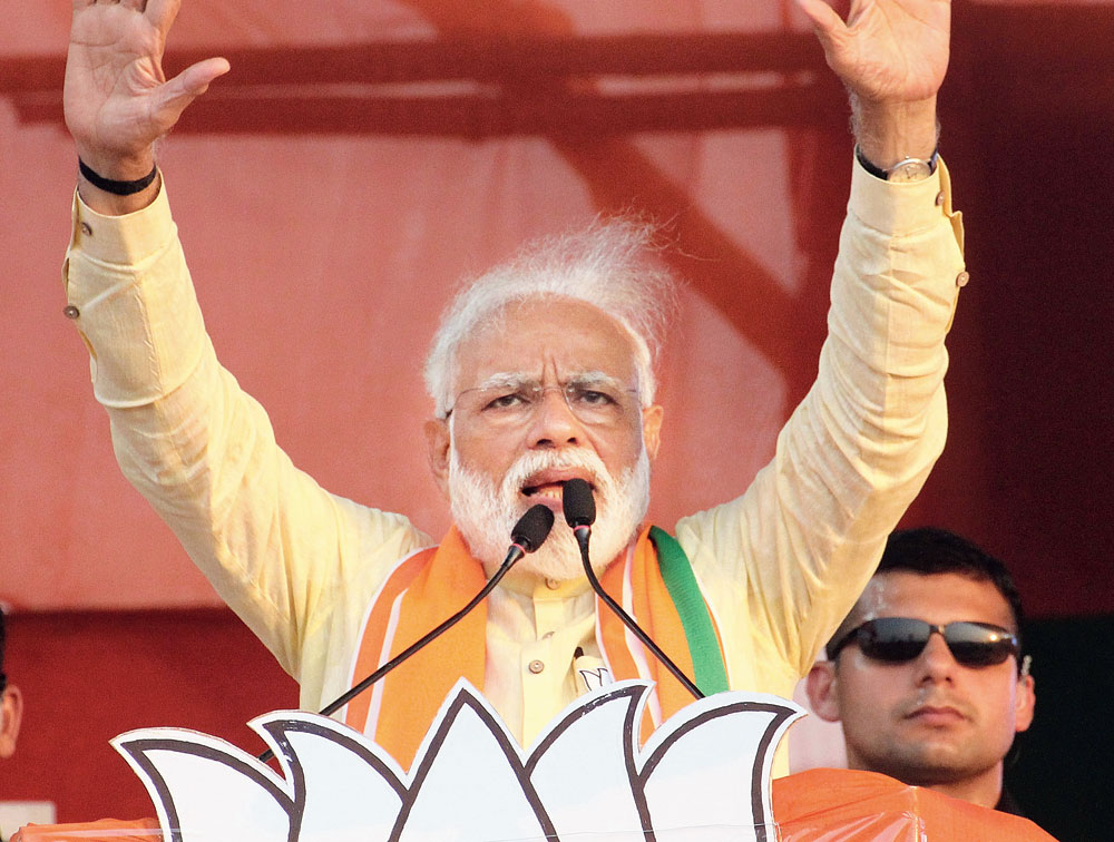 Modi at a rally in Ranaghat on Wednesday.