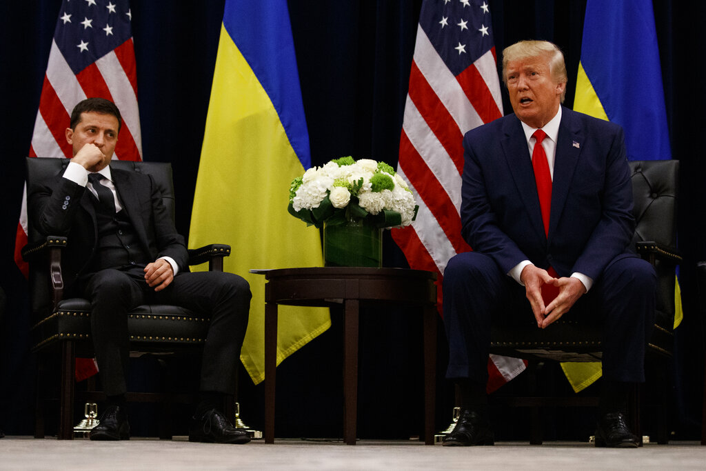 President Donald Trump meets with Ukrainian President Volodymyr Zelenskiy at the InterContinental Barclay New York hotel during the United Nations General Assembly, Wednesday, September 25, 2019, in New York