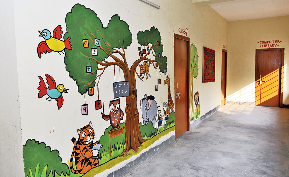 The walls of the school with Harshit's painting