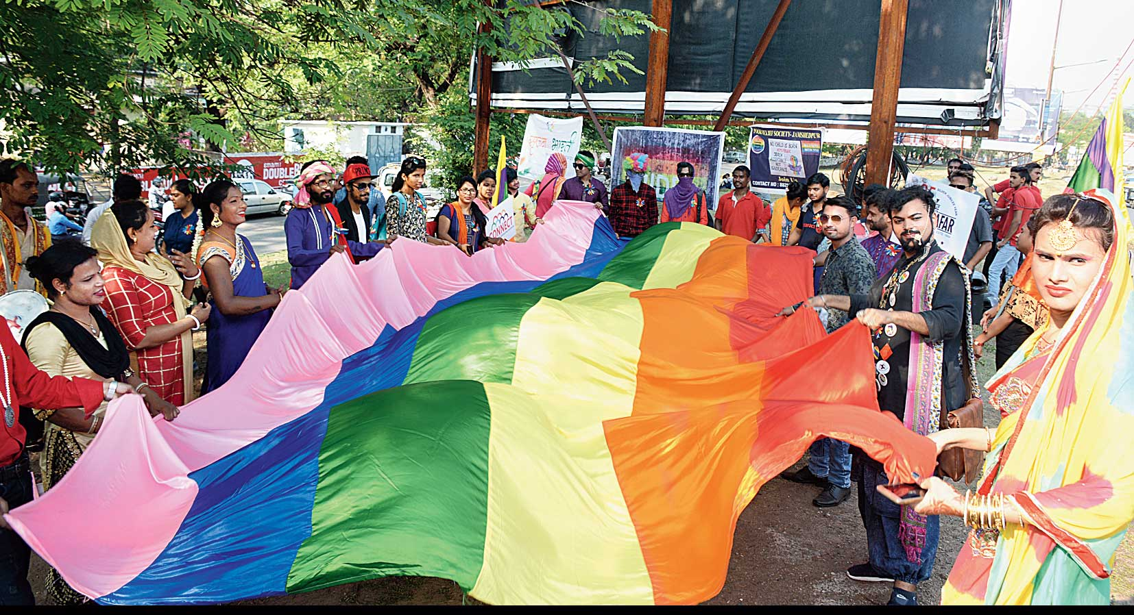 LGBTQ community participates in the Pride Parade in Bistupur, Jamshedpur, on Sunday.