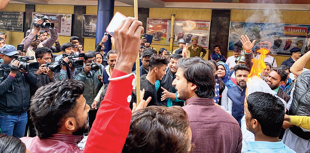 The demonstration in front of INOX (Hind) in Calcutta.
