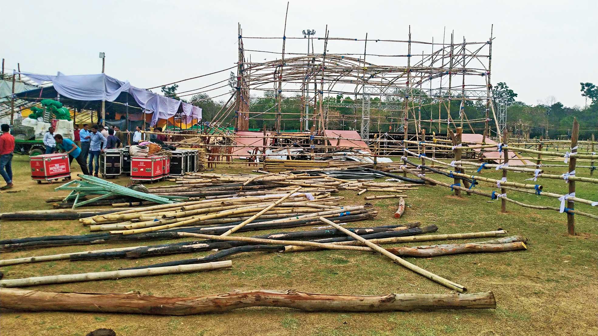 Basanta Utsav pandals being dismantled on Saturday.