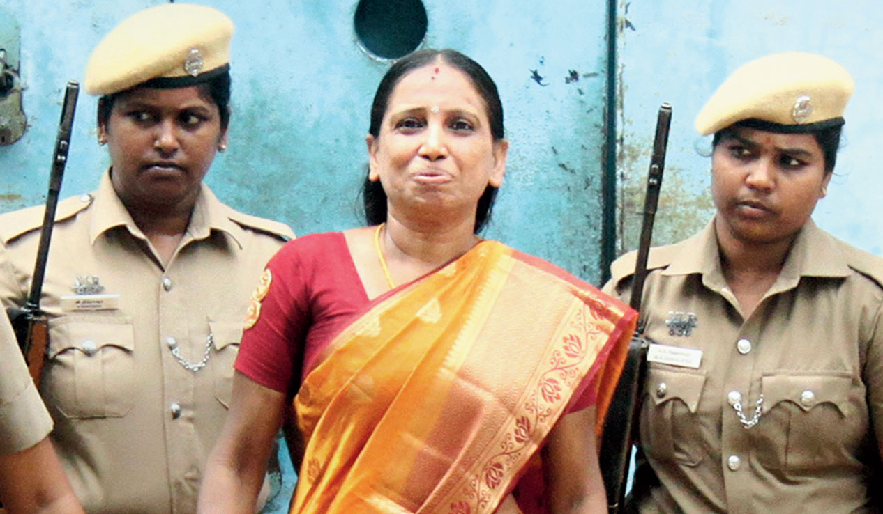 Nalini walks out of the jail in Vellore on Thursday.