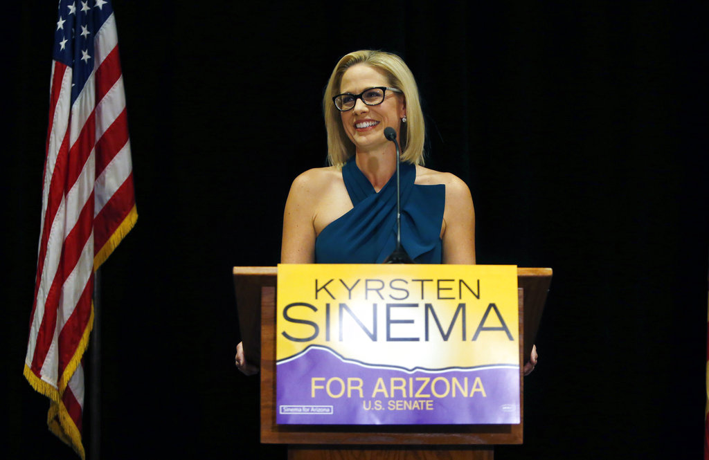 Kyrsten Sinema declares victory over Republican challenger Martha McSally in Scottsdale, Arizona, on Monday.