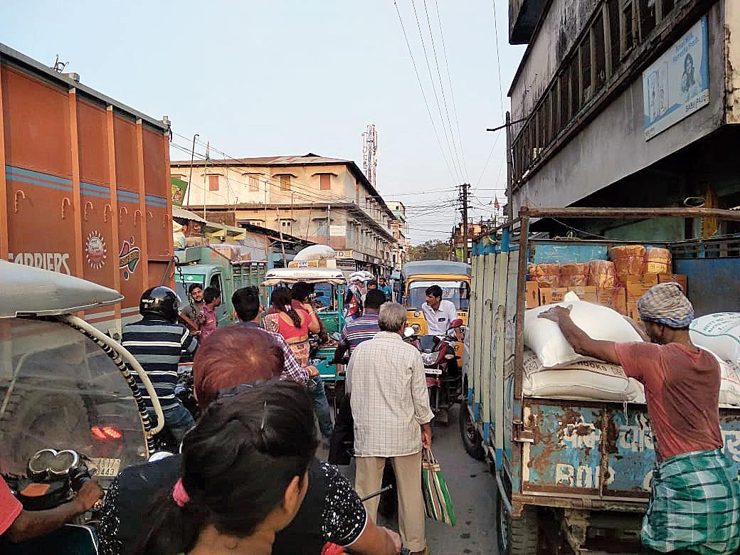 Vehicles stand bumper-to-bumper in Dhubri