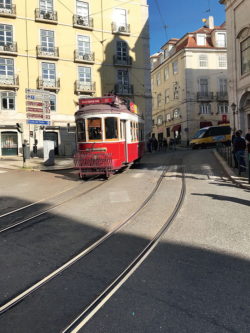 The old characteristic trams in Lisbon