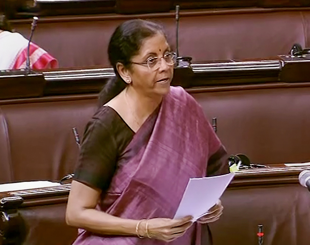 Finance Minister Nirmala Sitharaman speaks in Rajya Sabha Sabha during the ongoing budget session of Parliament, in New Delhi, Friday, March 13, 2020.