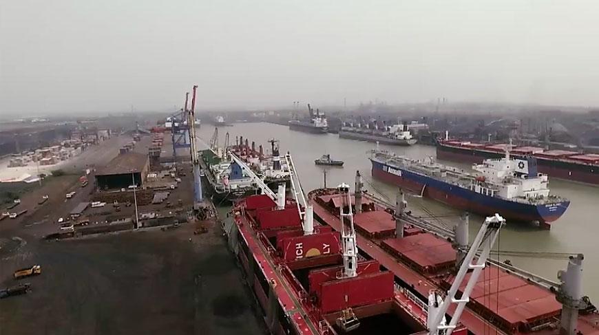 Aerial view of Haldia port