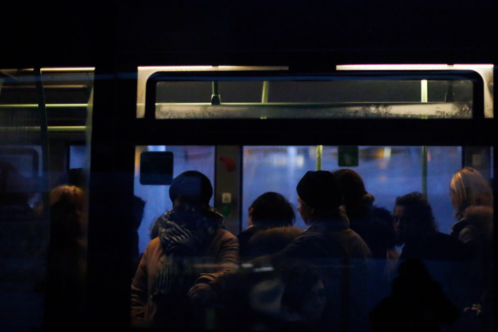 Commuters in a bus in Paris on December 11. After hundreds of thousands of angry protesters marched through French cities, the Prime Minister is expected to unveil proposals that might calm tensions on the seventh straight day of a crippling transport strike
