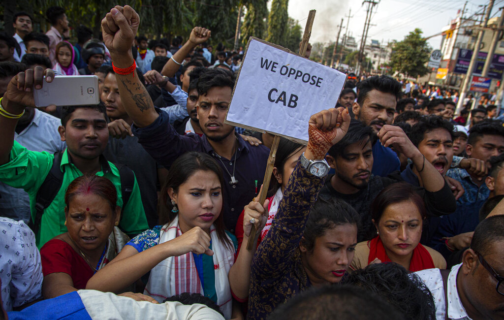 Protesters shout slogans against the Citizenship Amendment Bill (CAB) in Guwahati on Wednesday.