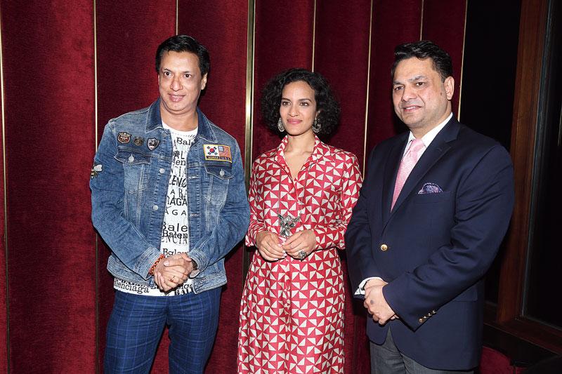 (L-R) Madhur Bhandarkar, Anoushka Shankar and Gaurang Jalan during a promotional of the film in Mumbai