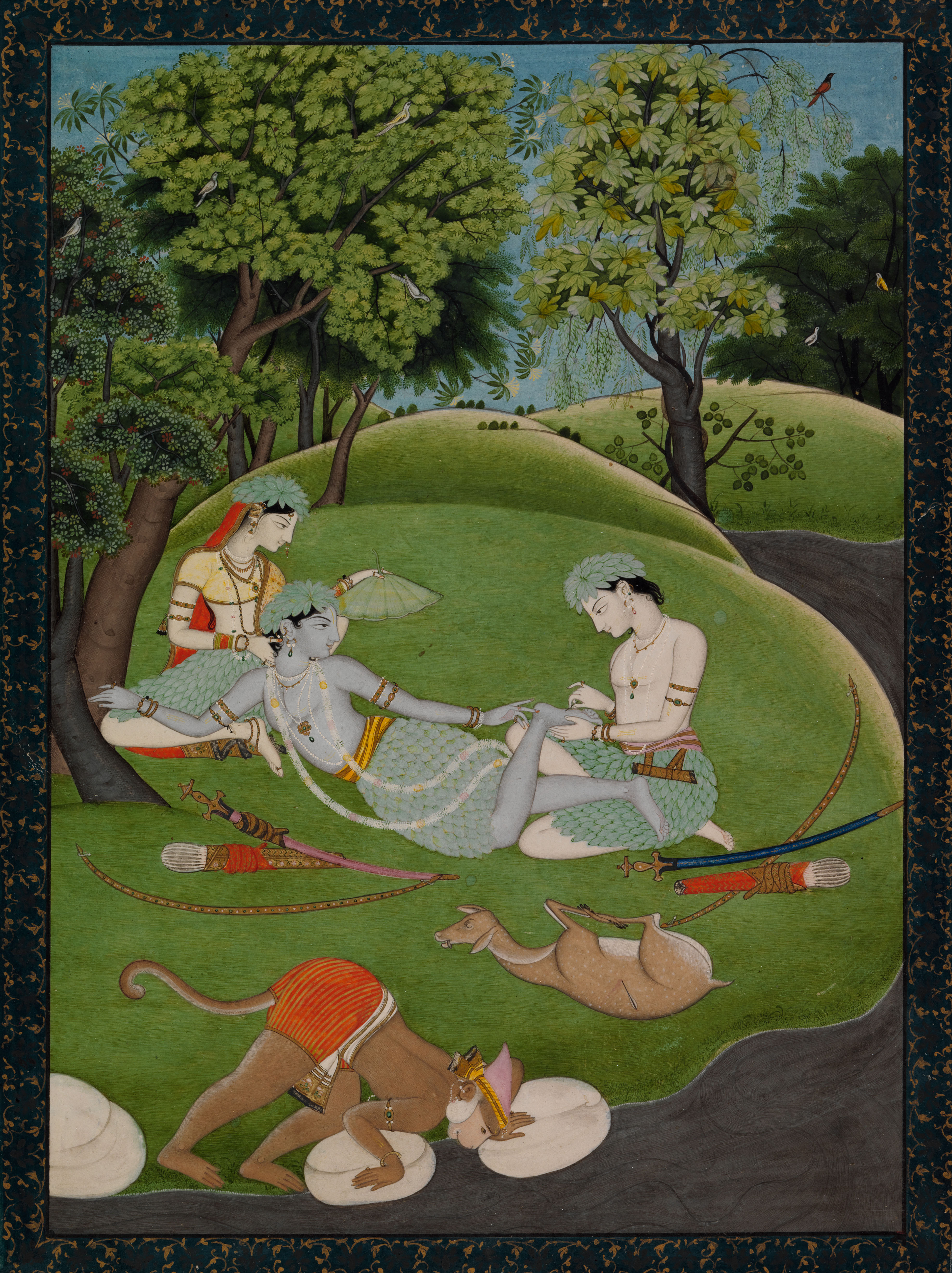 Rama, Sita, and Lakshmana begin their life in the forest: An opaque watercolour, with gold and silver on paper from the kingdom of Kangra, Punjab, ca. 1800-1810