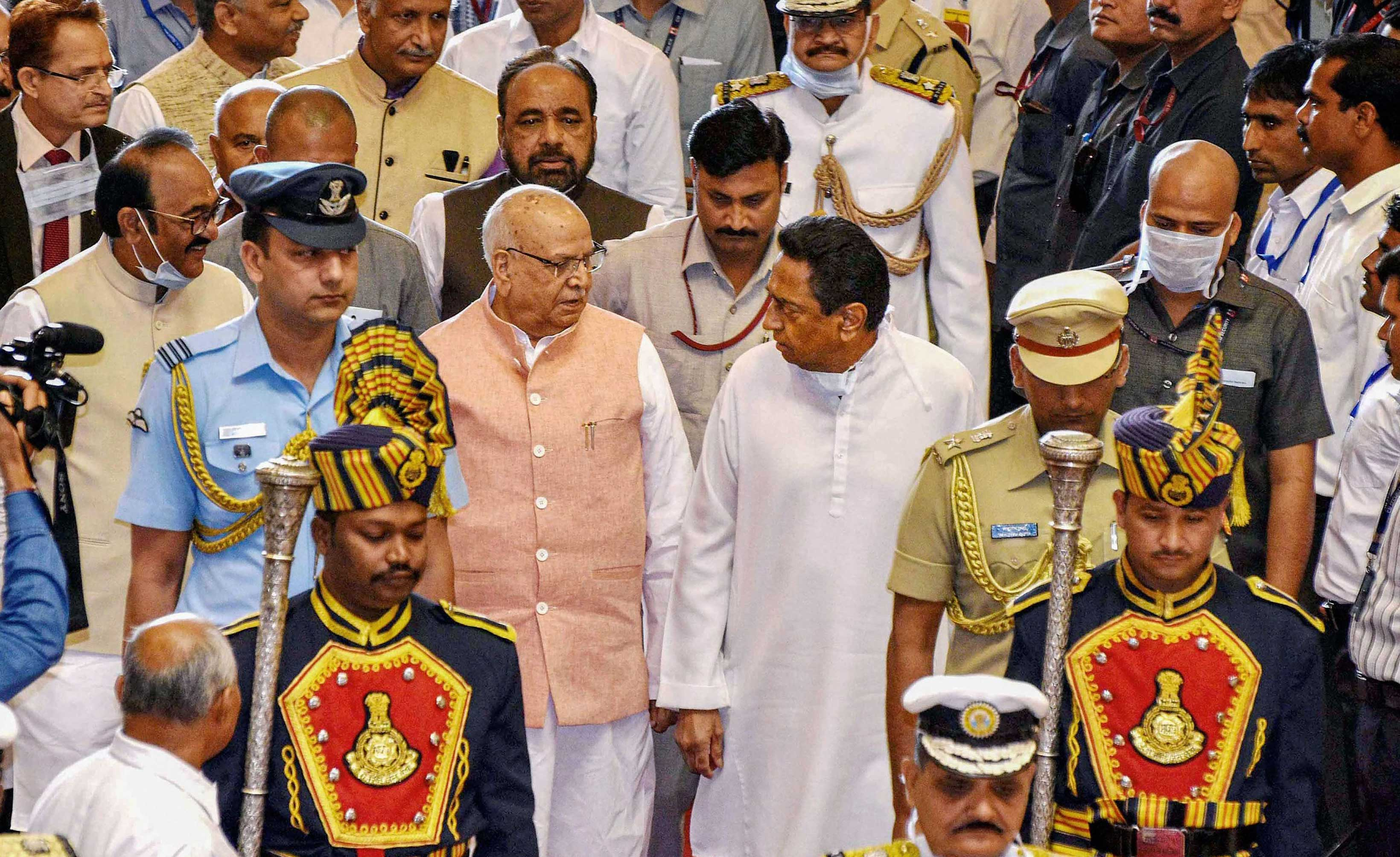 Madhya Pradesh governor Lalji Tandon along with chief minister Kamal Nath during the budget session of state assembly in Bhopal on Monday.