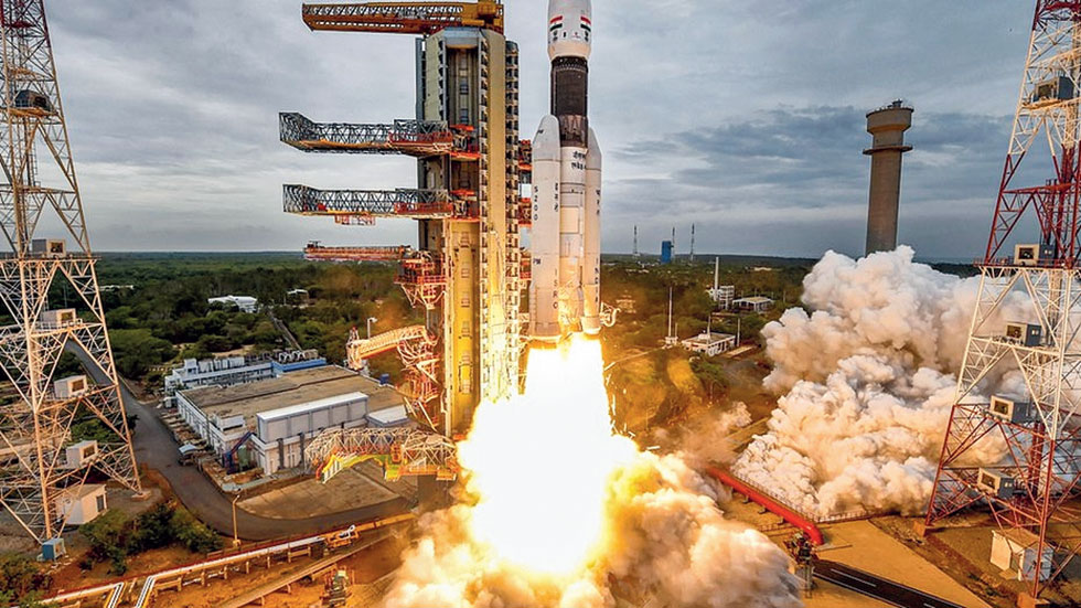 The rocket carrying Chandrayaan-2 lifts off.