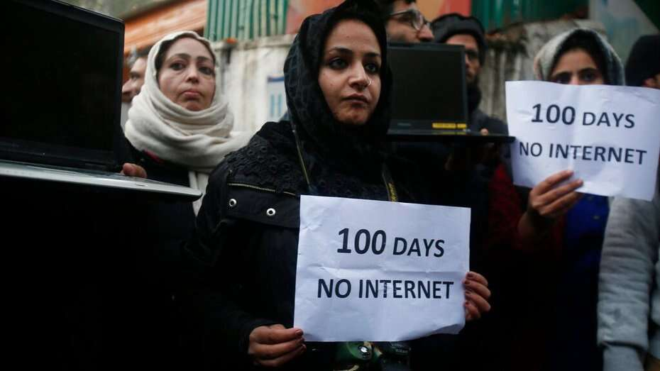 Kashmiri journalists hold placards and protest against 100 days of internet blockade in the region in Srinagar, on Tuesday, November 12, 2019. Internet services were cut since August 5 when Indian scrapped Jammu and Kashmir's semi-autonomous status. Image used for representational purpose.