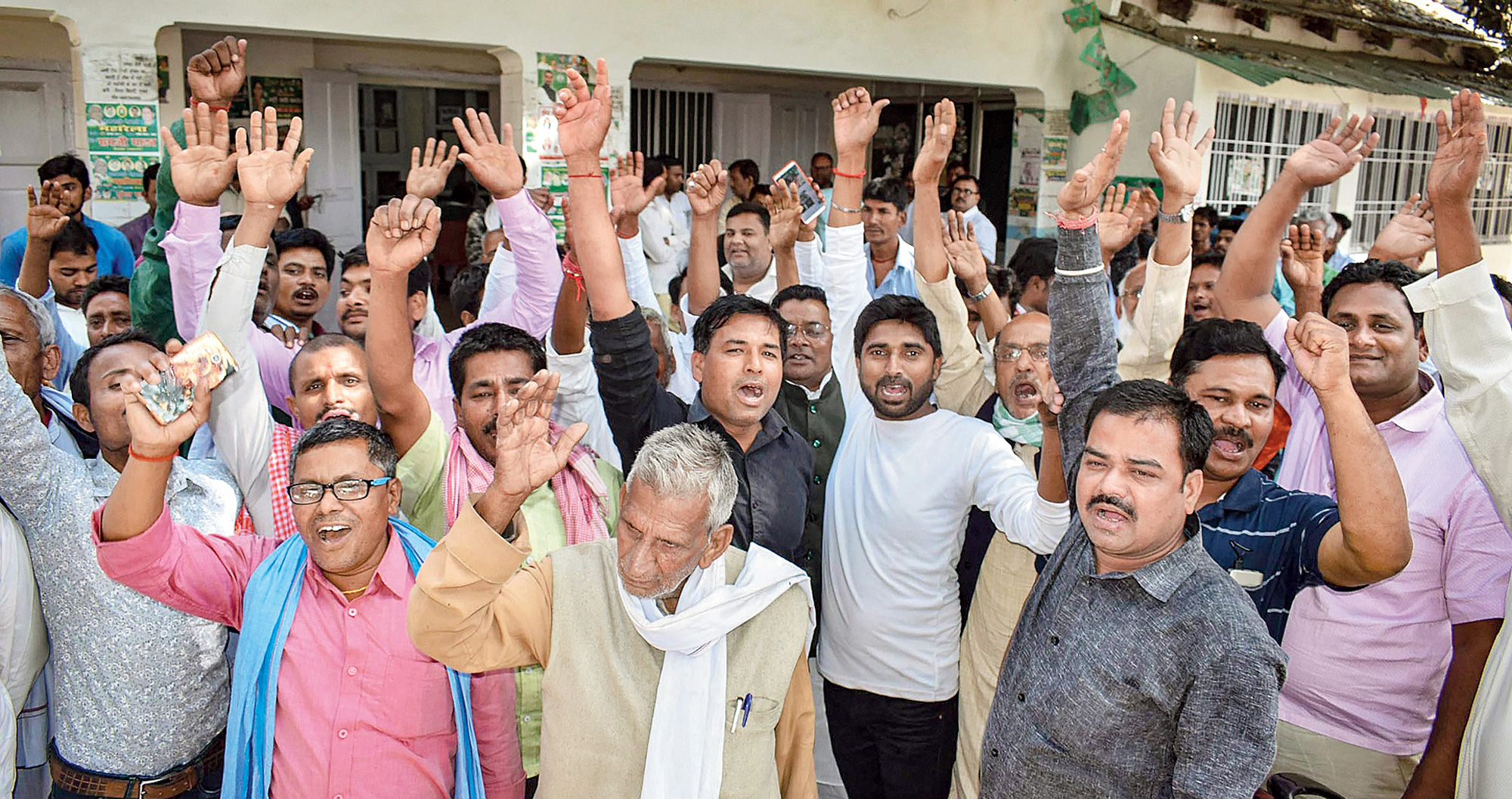 Ticket seekers and supporters demonstrate inside the RJD office in Patna on Sunday.