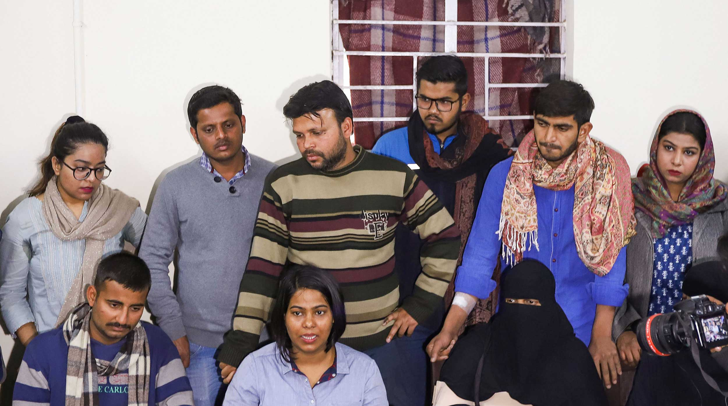 Jamia Coordination Committee members address a press conference in New Delhi on Wednesday.
