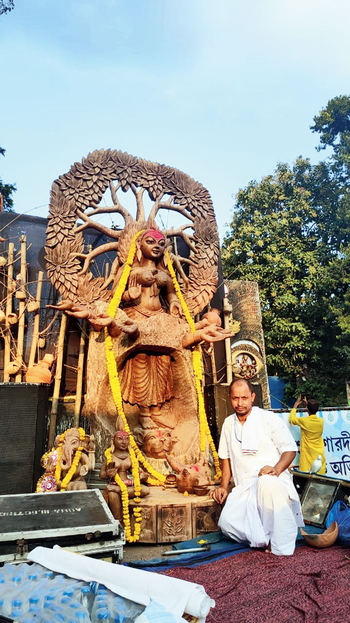 Udayshankar Mondal with the idol at the Red Road carnival on Friday