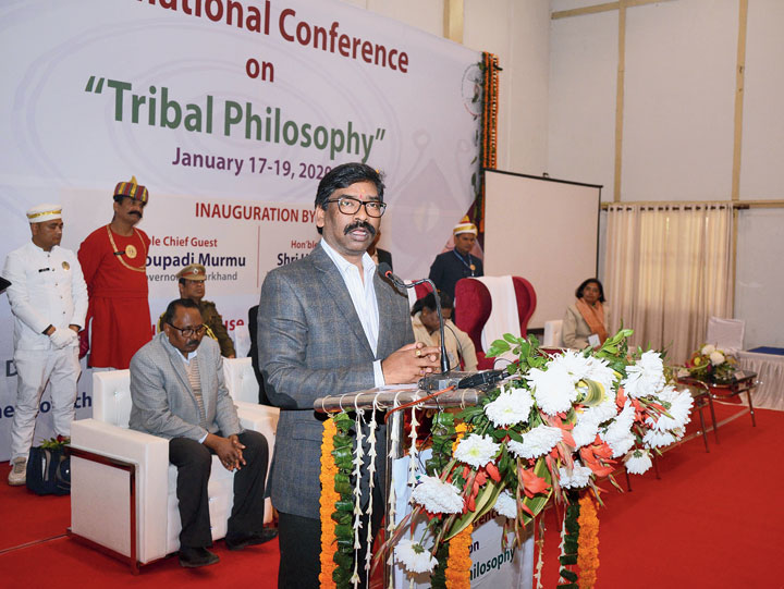 Chief minister Hemant Soren speaks at the tribal conference at Audrey House in Ranchi on Friday.