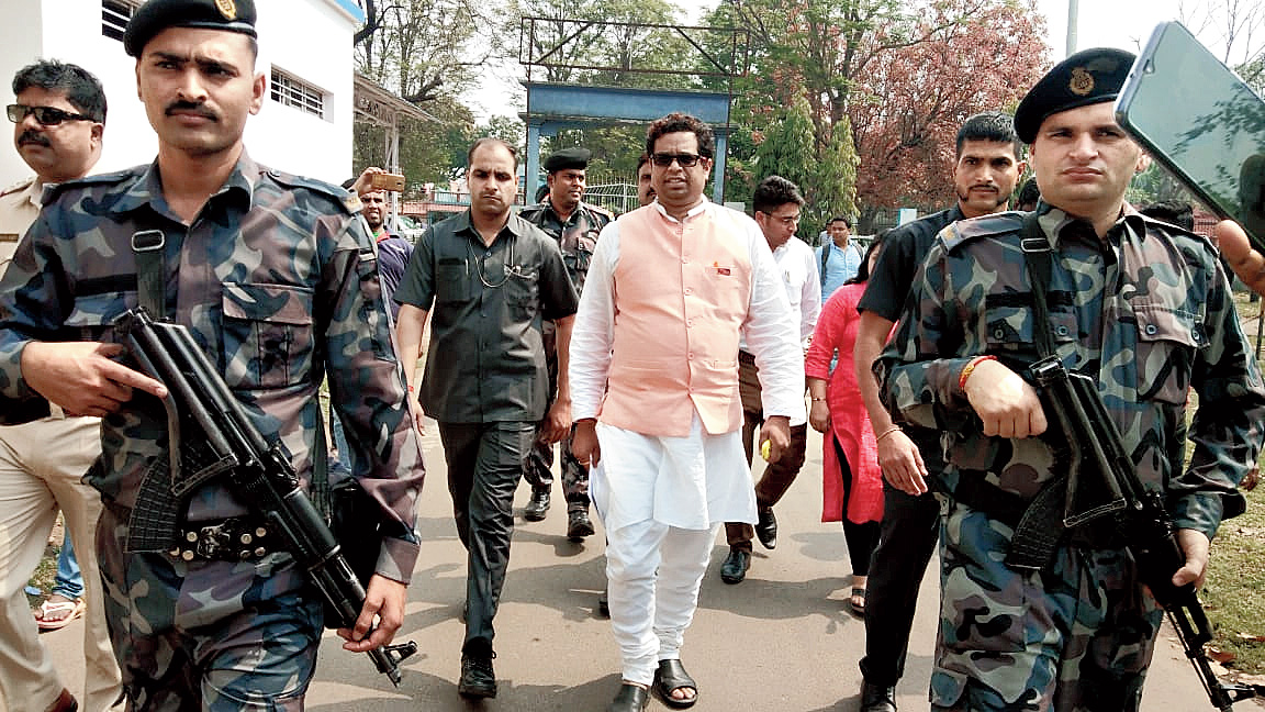 Khan at Durgapur police station for questioning on Monday.