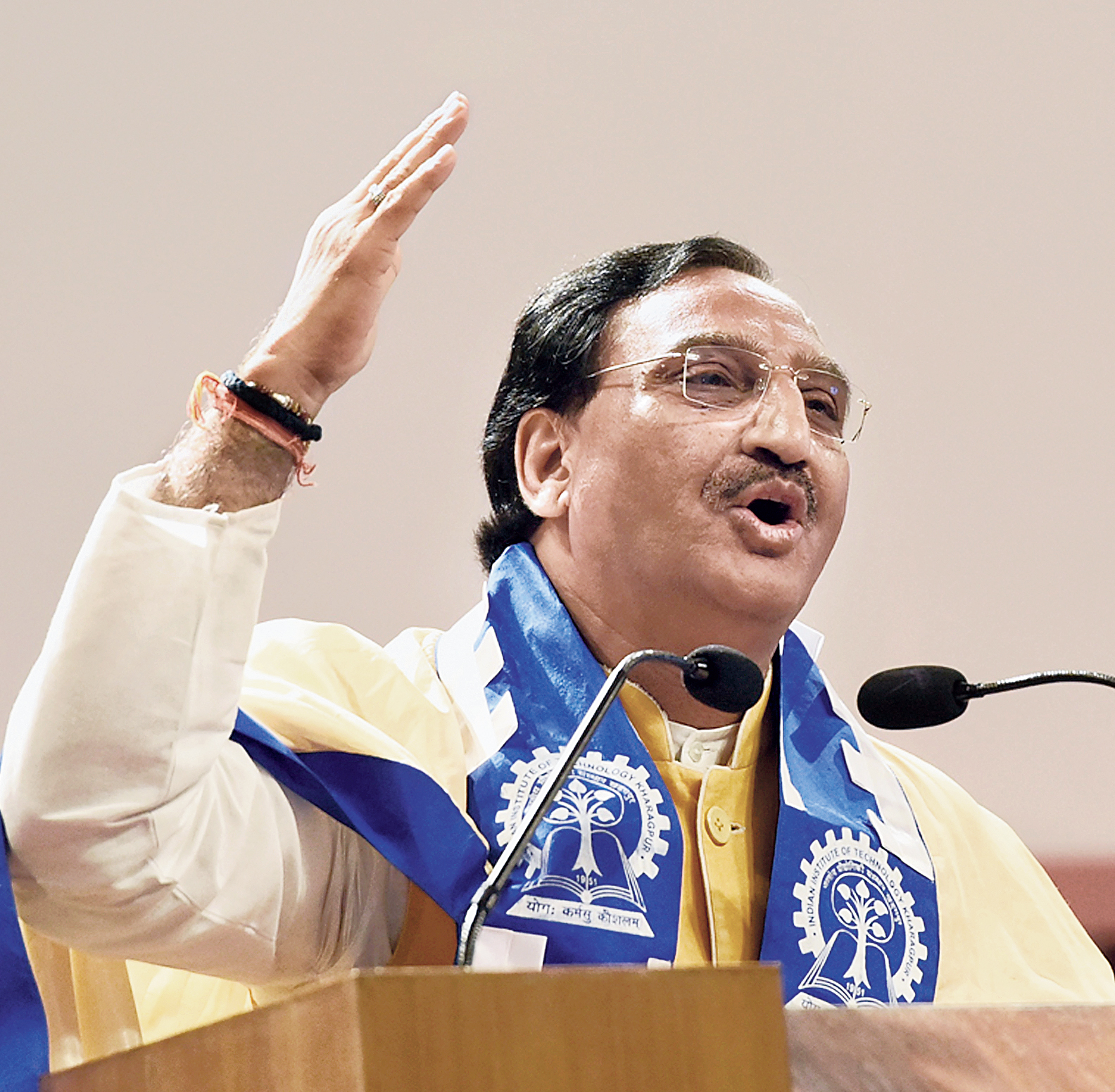 Union human resource development minister Ramesh Pokhriyal Nishank delivers the convocation address at IIT Kharagpur on Tuesday.