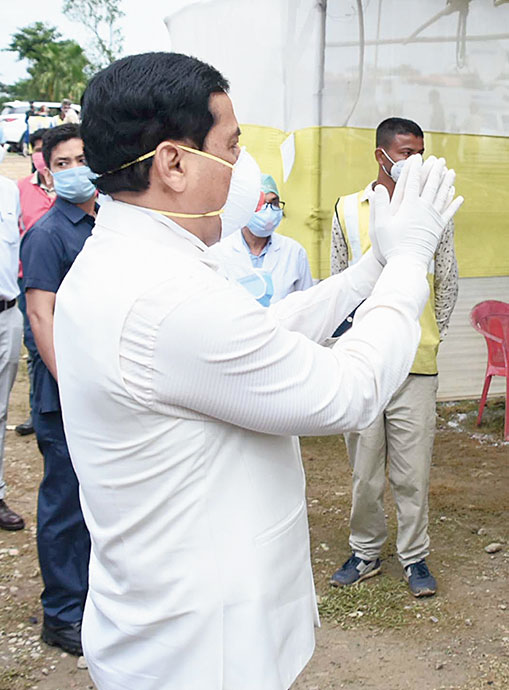 Chief minister Sarbananda Sonowal at the regional screening centre in Jorhat on Thursday.