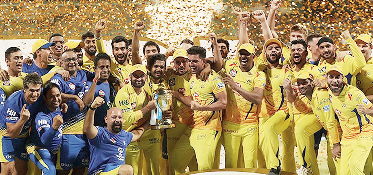Chennai Super Kings players and support staff after winning the IPL in 2018.