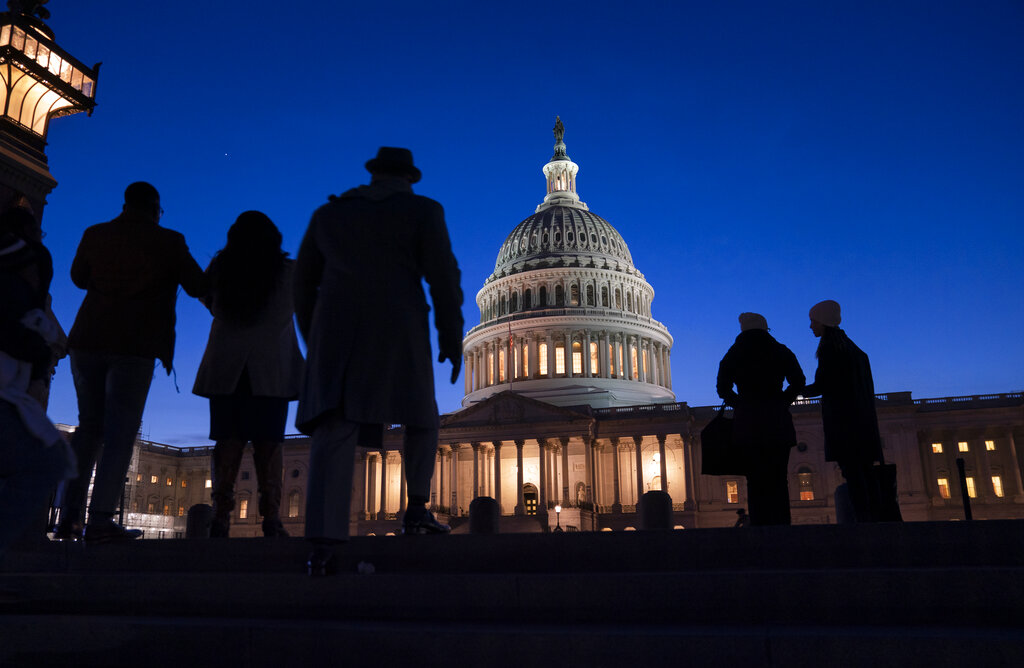 Night falls on the Capitol, in Washington on January 22, 2020, during in the impeachment trial of President Donald Trump
