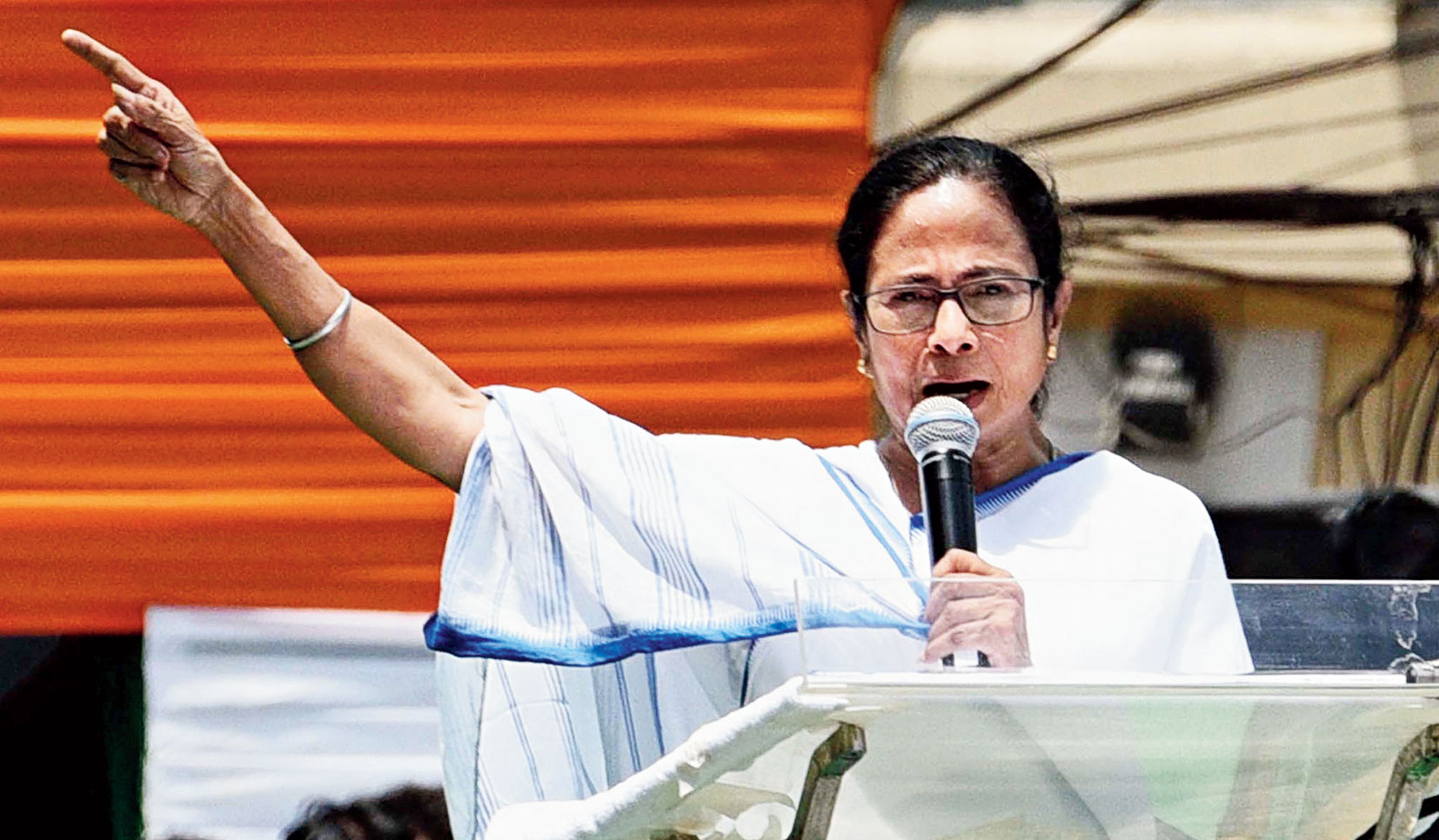 Mamata Banerjee at the Martyrs' Day rally in Calcutta on Sunday.