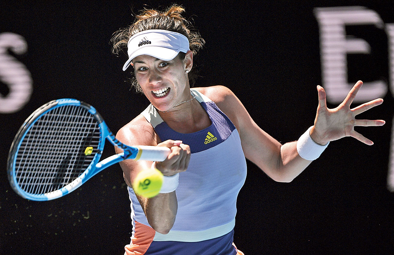 Garbine Muguruza hits a return to Anastasia Pavlyuchenkova in Melbourne on Wednesday