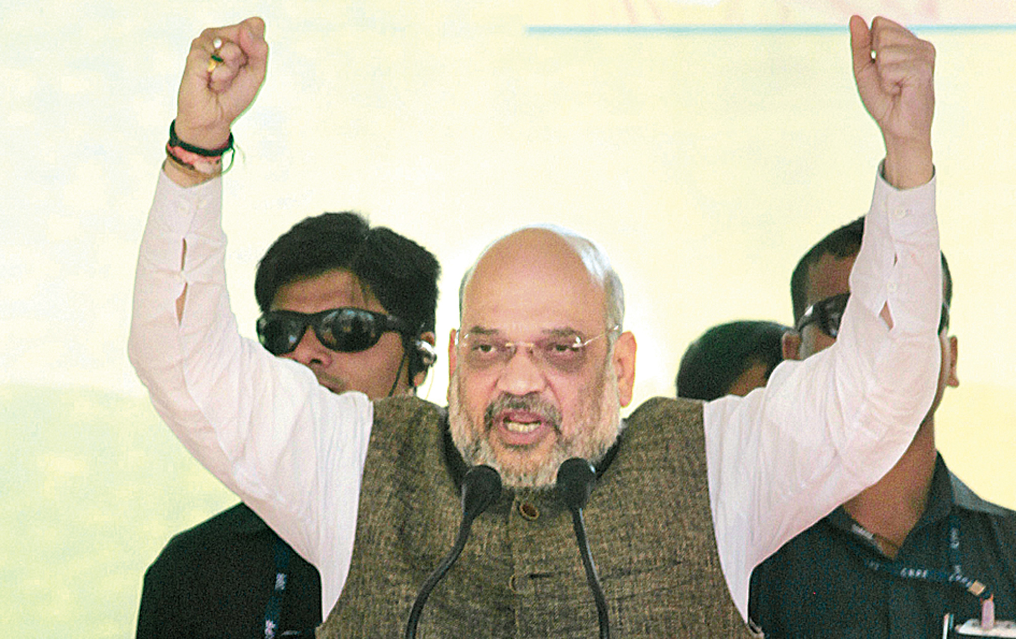 Amit Shah at a rally in Badaun, Uttar Pradesh, on Saturday.
