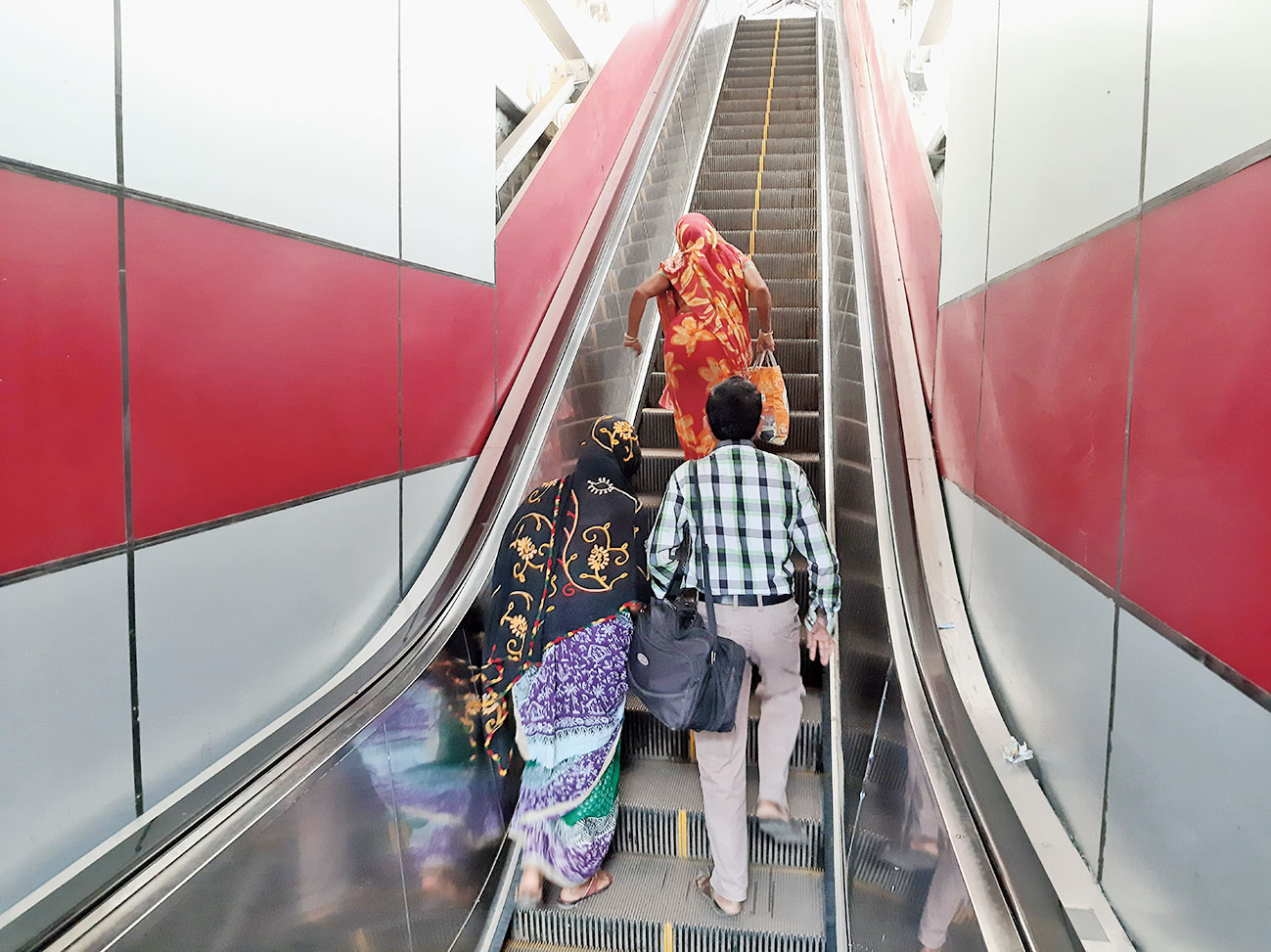 One of the non-functional escalators at Bolpur station.
