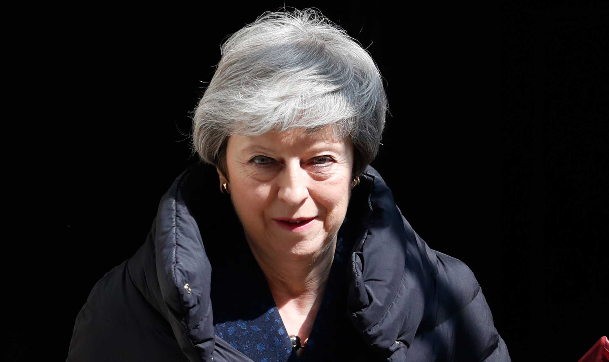 Theresa May leaves 10 Downing Street in London on May 1, 2019.