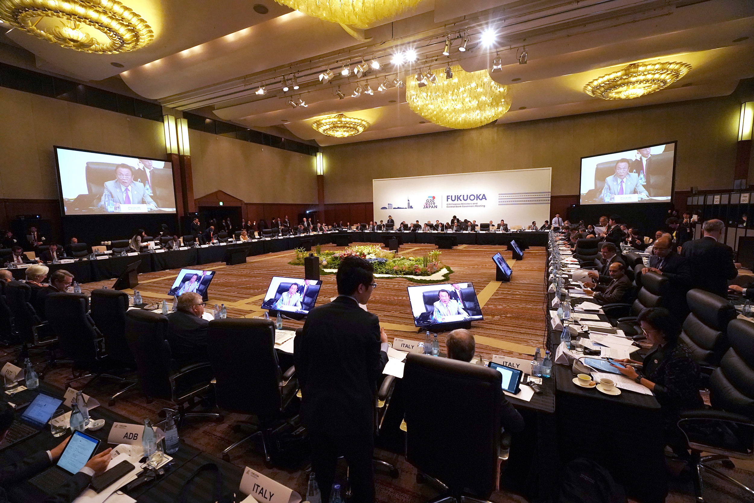 Participants attend the G20 Finance Ministers and Central Bank Governors Meeting on June 8, 2019, in Fukuoka, western Japan.