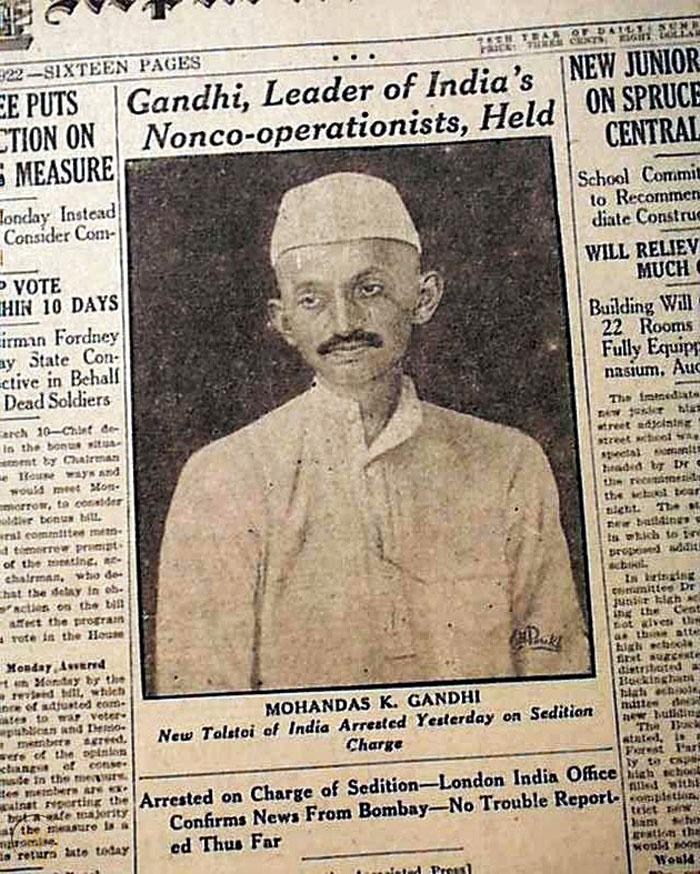 A newspaper report of M.K. Gandhi being arrested for sedition