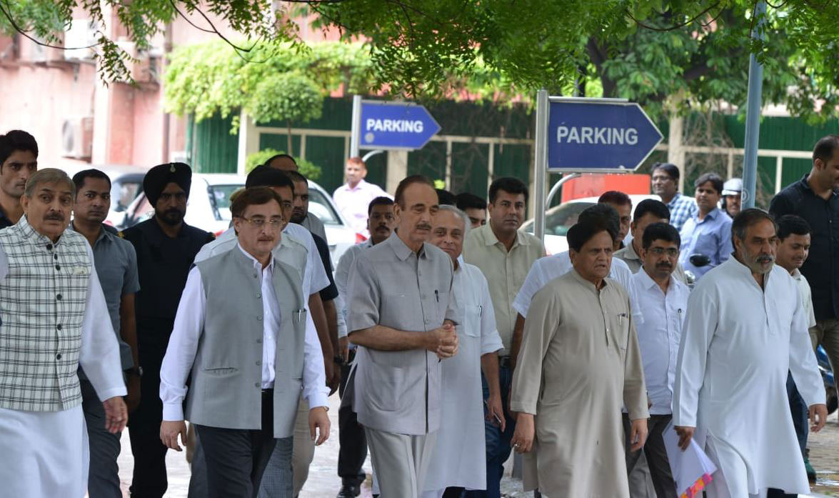 Congress leaders come out of the Central Vigilance Commission in New Delhi on Monday.