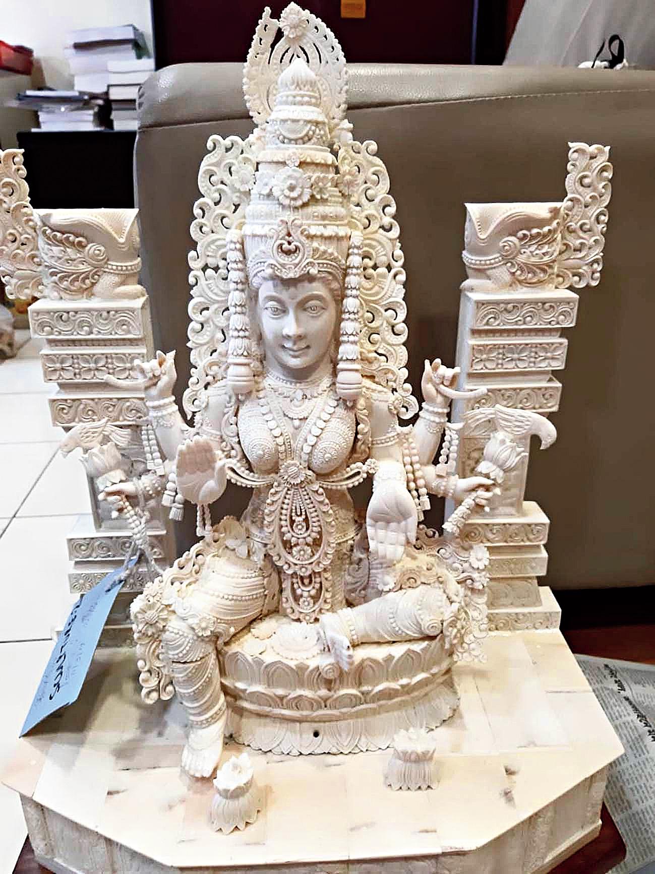 An ivory statuette seized from the Kasba home of Sudheesh Chandra Babu and Amitha SC Babu on Tuesday.