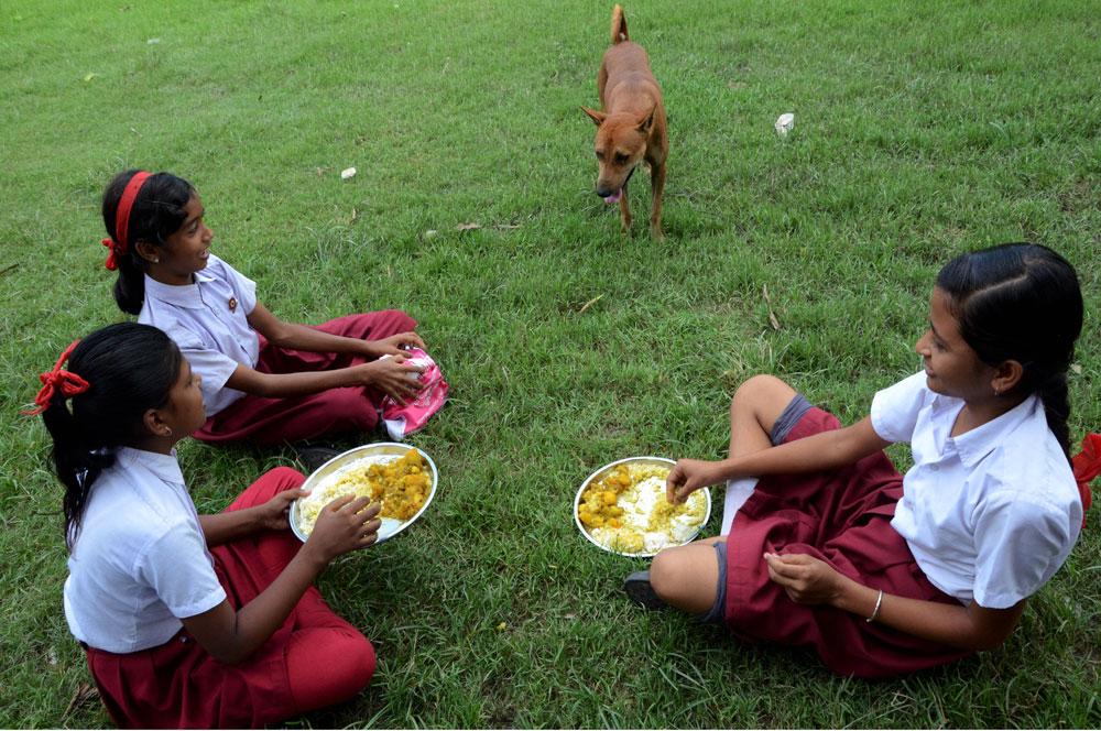 School kids eating their midday meal