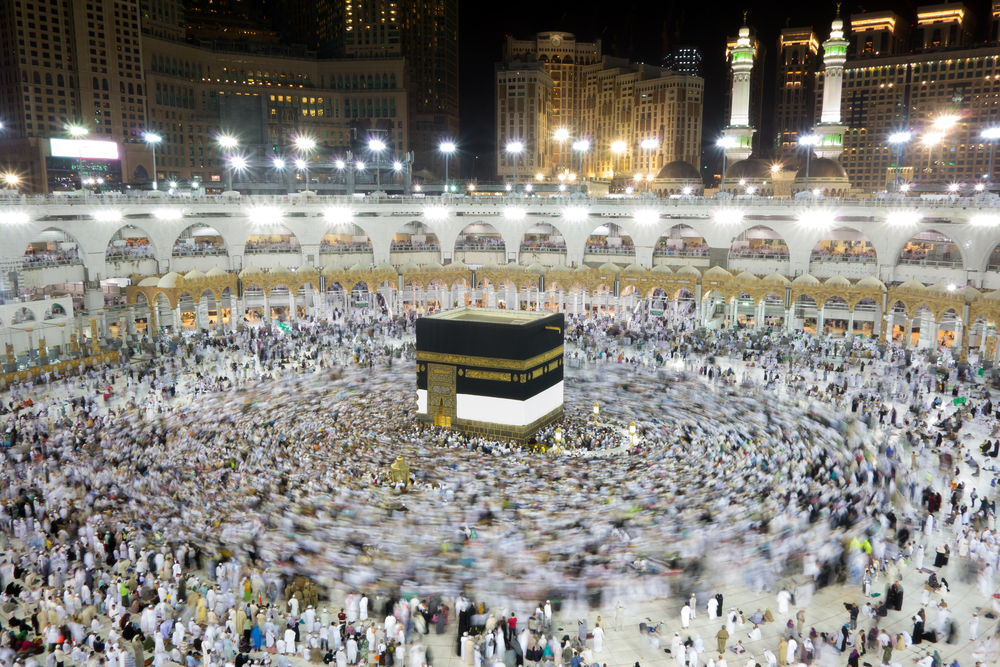 The gloom: The Khaana-e Kaaba in Mecca will remain closed on Id for the first time in living memory .