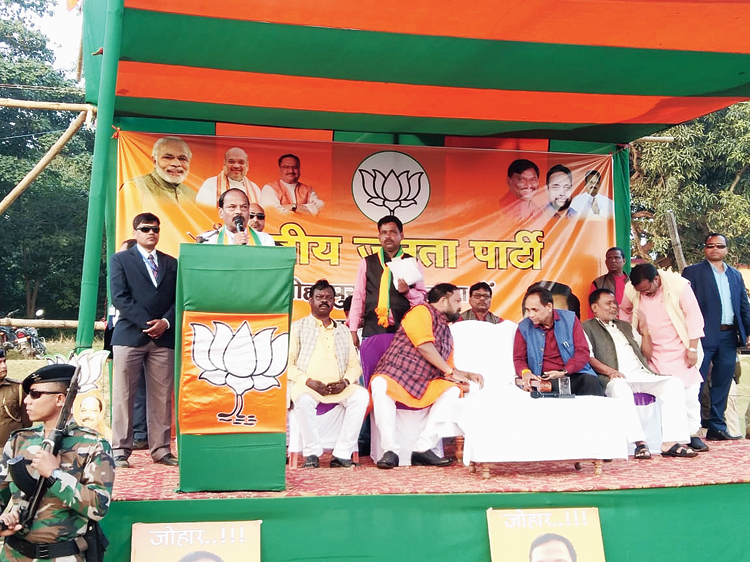 Raghubar Das addresses the rally at Budhi Ghora High School ground in Manoharpur, Jamshedpur, on Friday