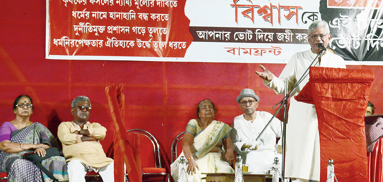 Left Front leader Sitaram Yechuri at a meeting in Karunamoyee on Monday. Haripada Biswas is seated second from left.