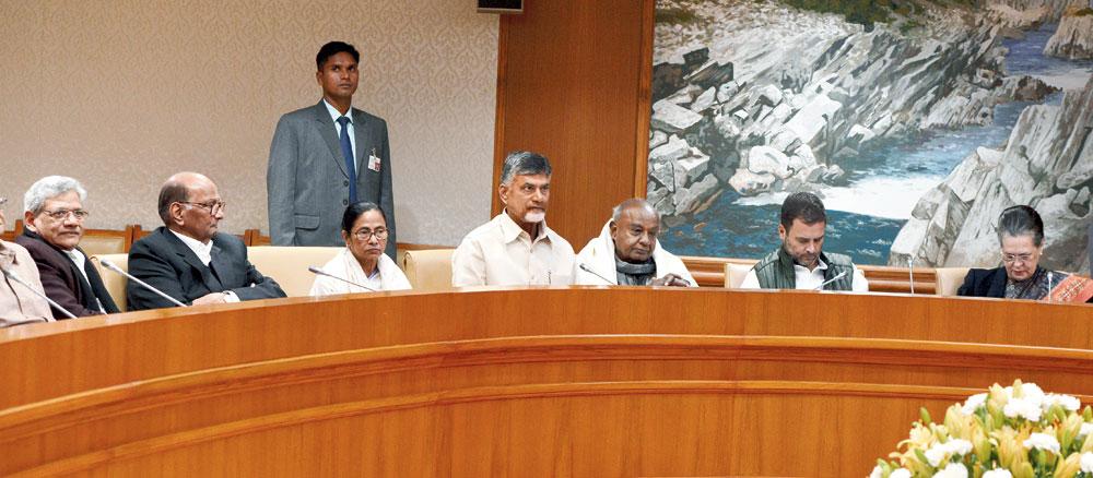 (From left) Sitaram Yechury, Sharad Pawar, Mamata Banerjee, N Chandrababu Naidu, HD Deve Gowda, Rahul Gandhi and Sonia Gandhi at the meeting on Monday.
