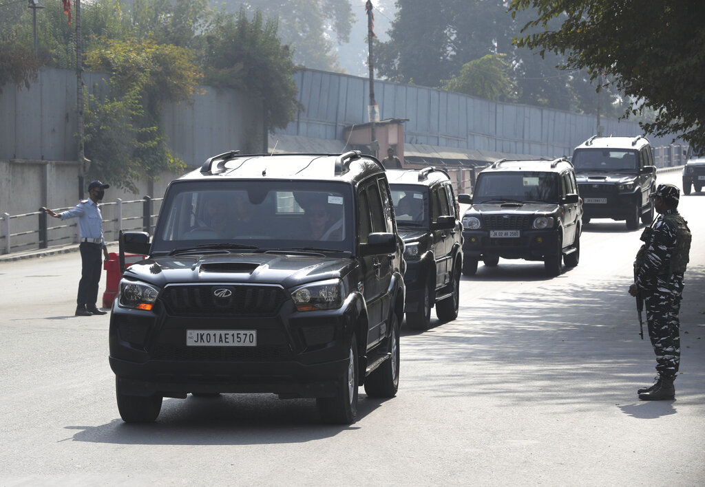 A paramilitary soldier stands guard as the convoy of members of European Parliament pass in Srinagar on Tuesday, October 29, 2019. Internet access is globally recognized as a basic human right, but in Kashmir the denial of that right is not a new thing - there have been 180 shutdowns since 2012